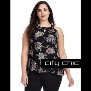 City Chic Black Floral Lace Shirt XL 22W